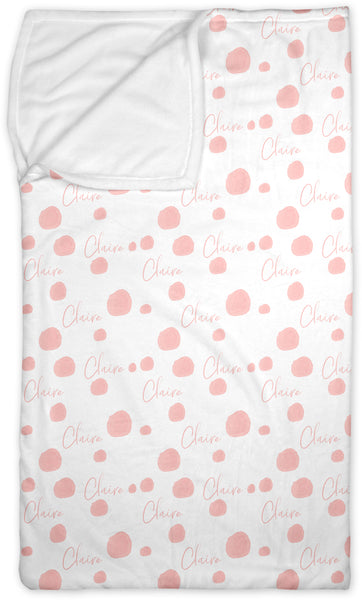 Personalized Name Lounge Bag - PINK WATERCOLOR DOTS - Dotboxed