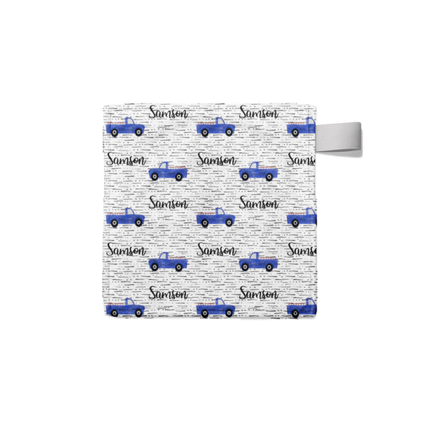 Personalized Name Lovey Blanket -  BLUE TRUCKS - Dotboxed