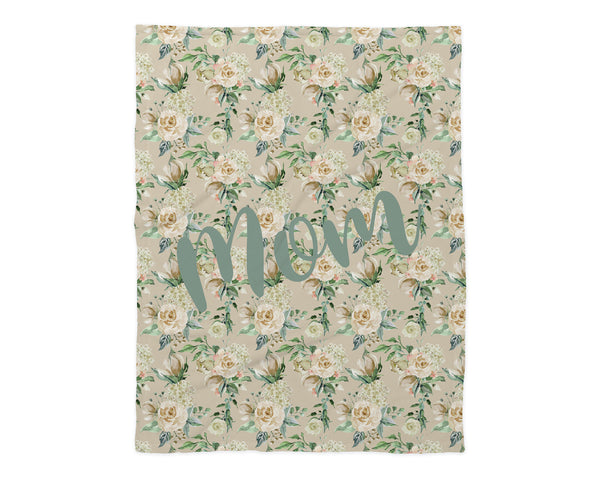 Family Name Minky Blanket - Cream Floral *2 Layer