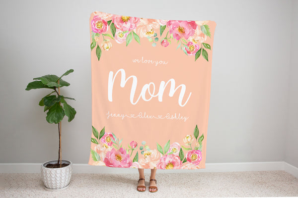Family Name Minky Blanket - Peony Frame Floral on Peach *2 Layer