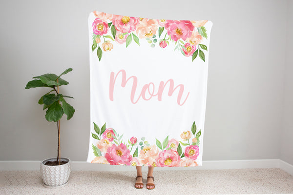 Family Name Minky Blanket - Peony Frame Floral on White *Single Layer