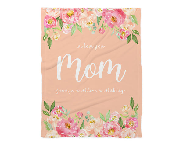 Family Name Minky Blanket - Peony Frame Floral on Peach *Single Layer