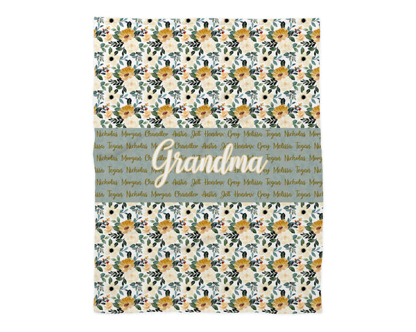 Family Name Minky Blanket - Mustard Cream Floral *2 Layer