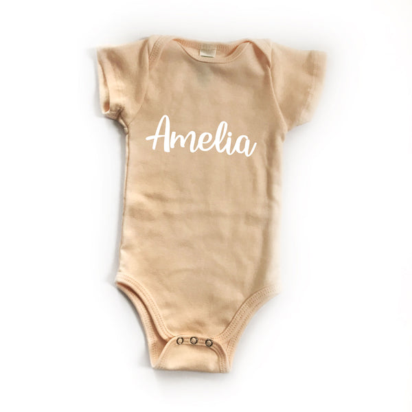 Personalized Name Bodysuit - NUDE PEACH - Dotboxed