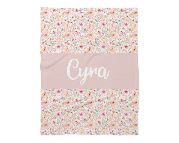 Family Name Minky Blanket - Peachy Pink Floral *2 Layer