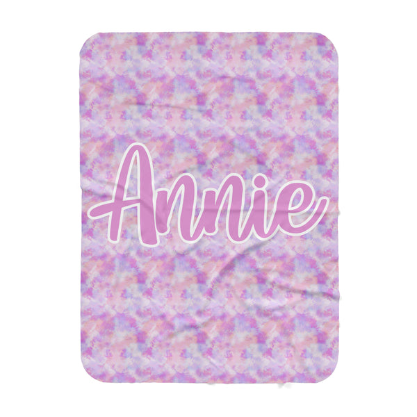 Personalized Name Blanket -  Pink Tie Dye with Large Centered Name - Dotboxed