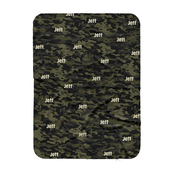 Personalized Name Blanket -  CAMOUFLAGE GREEN - Dotboxed