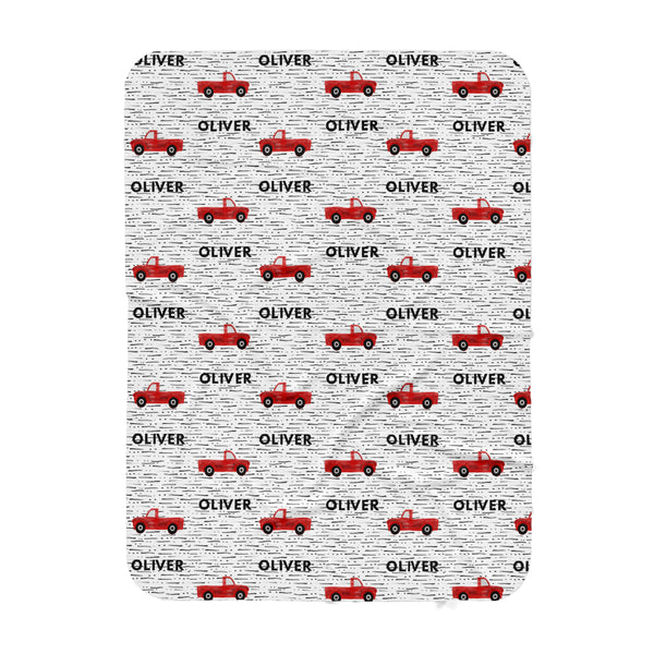 Personalized Name Blanket -  RED TRUCKS - Dotboxed