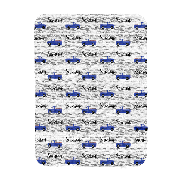 Personalized Name Blanket -  BLUE TRUCKS - Dotboxed