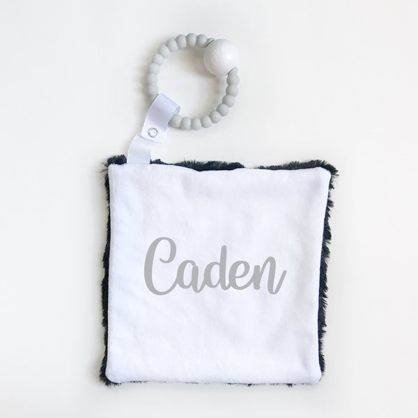 Personalized Name Attached Lovey Blanket - LARGE CENTERED NAME - Dotboxed