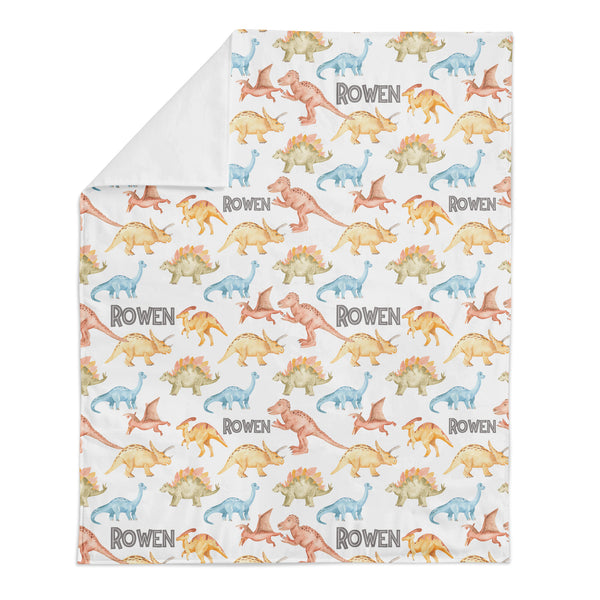 Personalized Name Minky Blanket -  WATERCOLOR DINOSAURS - Dotboxed
