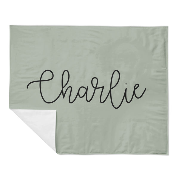 Personalized Name Minky Blanket - LARGE CENTERED NAME WITH COLORED BACKGROUND - Dotboxed