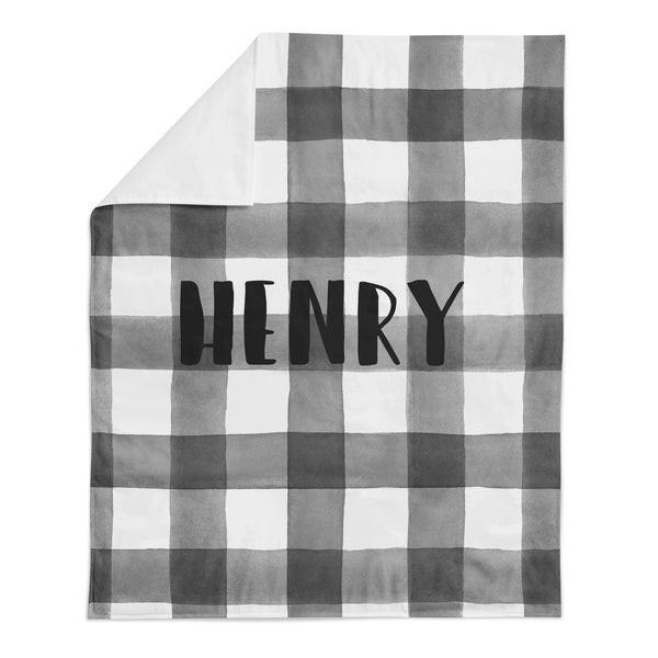 *HOLIDAY LIMITED EDITION* Personalized Name Minky Blanket -  B+W BUFFALO CHECK - Dotboxed