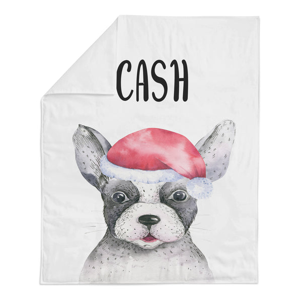 *HOLIDAY LIMITED EDITION* Personalized Name Minky Blanket -  BOSTON TERRIER WITH SANTA HAT - Dotboxed