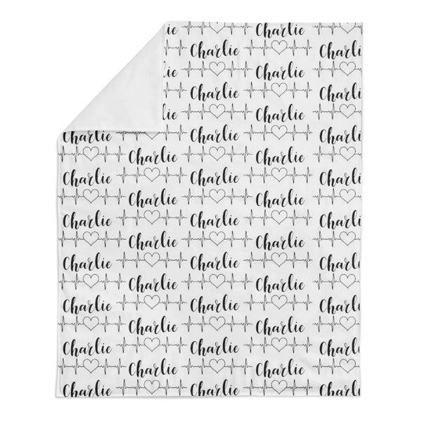 Heartbeat Personalized Name Minky Blanket -Hearts Collection - Dotboxed