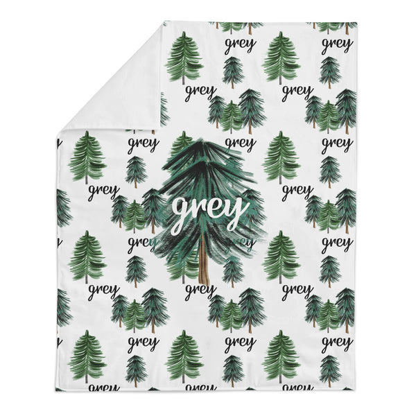 *HOLIDAY LIMITED EDITION* Personalized Name Minky Blanket -  HOLIDAY TREES - Dotboxed