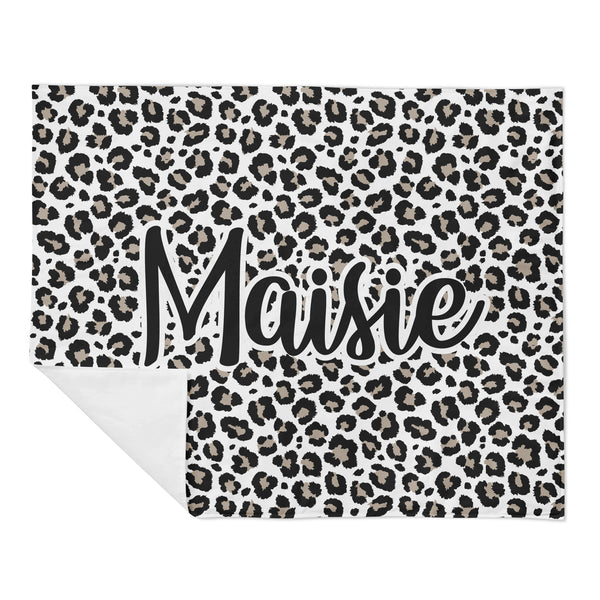 Personalized Name Minky Blanket - Leopard
