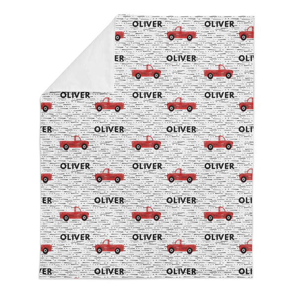 Personalized Name Minky Blanket -  RED TRUCKS - Dotboxed