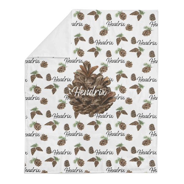 *HOLIDAY LIMITED EDITION* Personalized Name Minky Blanket -  PINECONES - Dotboxed