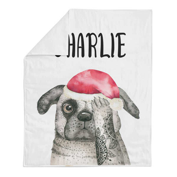 *HOLIDAY LIMITED EDITION* Personalized Name Minky Blanket -  PUG WITH SANTA HAT