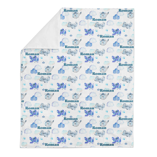 Personalized Name Minky Blanket - BLUE AIRPLANES