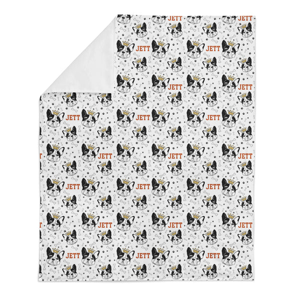 Personalized Name Minky Blanket - BOSTON TERRIER WITH CROWN