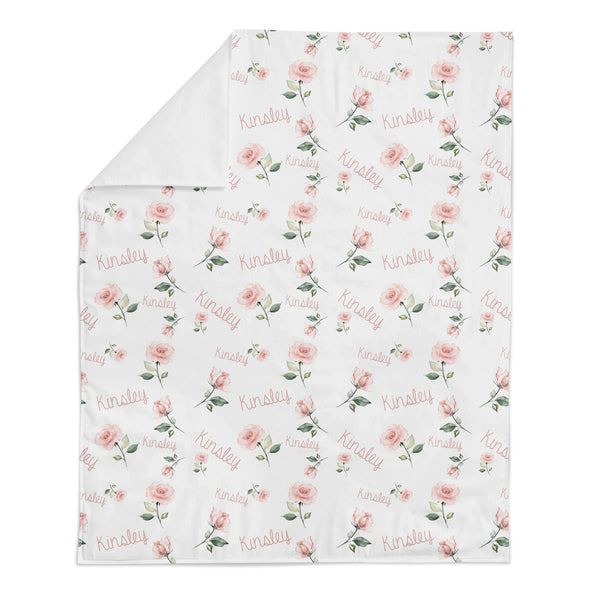 Personalized Name Minky Blanket -  LIGHT PINK ROSES