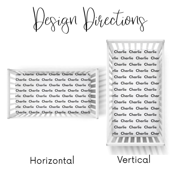 Personalized Name Crib Sheet-  LARGE CENTERED NAME COLORED BACKGROUND - Dotboxed