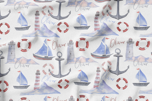 Personalized Name Minky Blanket - NAUTICAL - Dotboxed