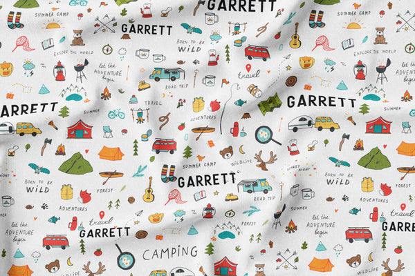 Personalized Name Minky Blanket -  CAMPING - Dotboxed