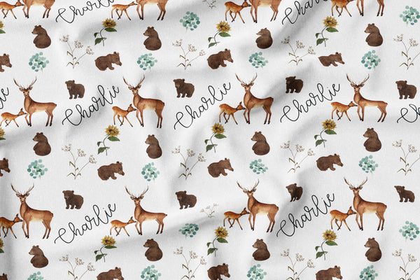 Personalized Name Blanket -  DARLING FOREST ANIMALS - Dotboxed