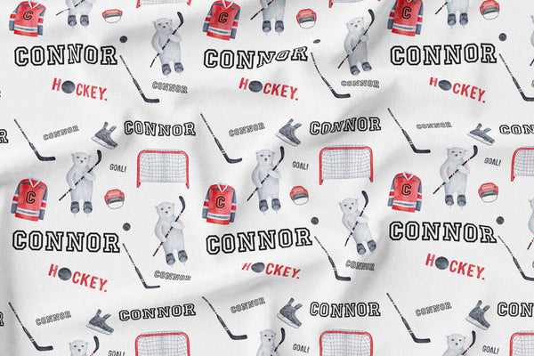 Personalized Name Lovey Blanket -  HOCKEY BEARS RED - Dotboxed