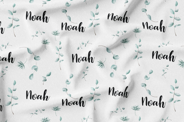 Personalized Name Minky Blanket -  GREENERY - Dotboxed