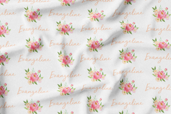Personalized Name Minky Blanket -  PEONY BUNCH - Dotboxed