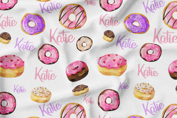Personalized Name Blanket -  PINK DONUTS - Dotboxed