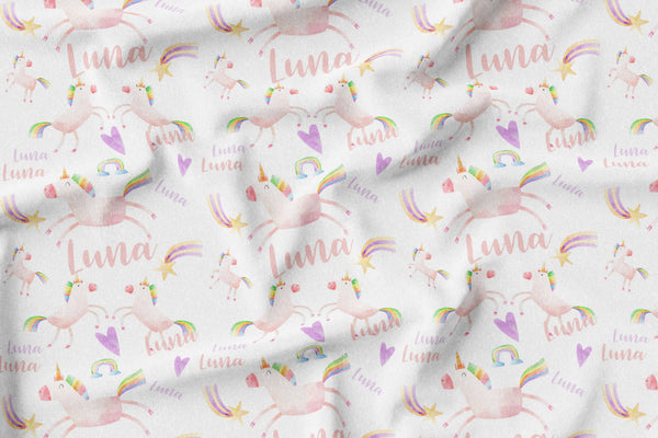 Unicorn Watercolor Personalized Name Minky Blanket - Dotboxed