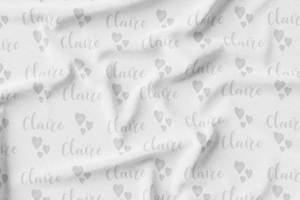 Personalized Name Crinkle Lovey Blanket -  GREY WATERCOLOR HEARTS - Dotboxed