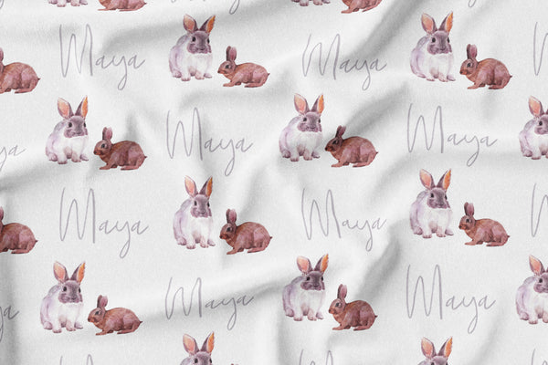 Personalized Name Minky Blanket -  WATERCOLOR RABBIT - Dotboxed
