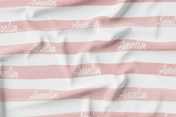 Personalized Name Blanket -  LARGE PINK STRIPES - Dotboxed