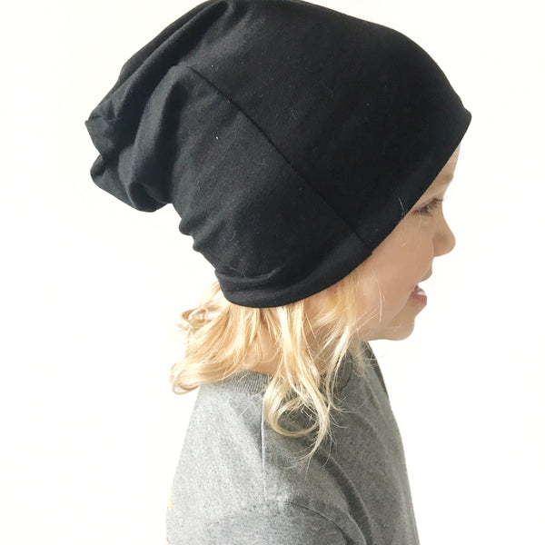 Slouch Beanie - BLACK + MELLOW ROSE - Dotboxed