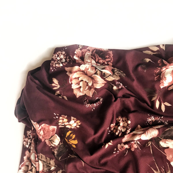 Stretchy Swaddle Blanket in Burgundy Floral - Dotboxed