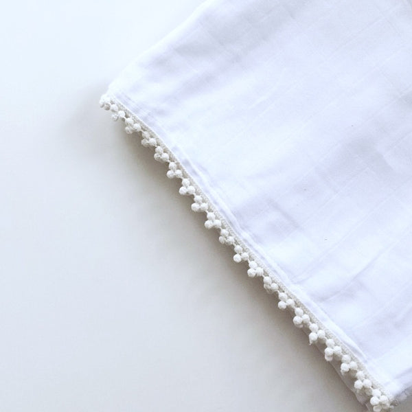 Mini Trio Poms White-  cotton muslin swaddle - BLANKET - Dotboxed