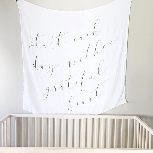 *TYPO* GRATEFUL HEART - BAMBOO MUSLIN BLANKET - Dotboxed