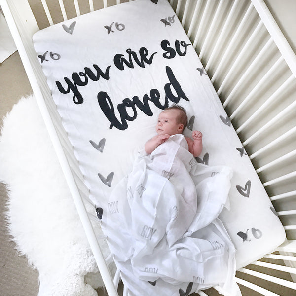 MUSLIN CRIB SHEET - YOU ARE SO LOVED - Dotboxed