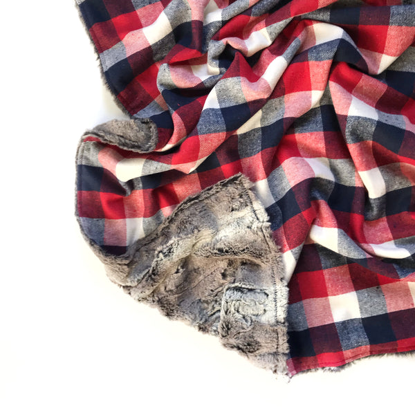 Plaid Blanket RED WHITE AND BLUE SQUARE LARGE CHECK - Wholesale - Dotboxed