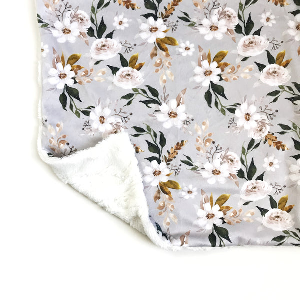 Minky Blanket - Caramel and Olive Floral on Cloud Grey - Dotboxed