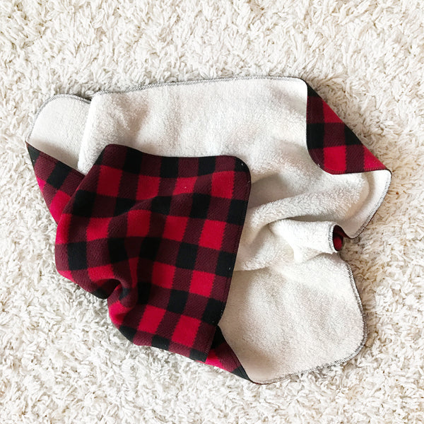 FLEECE AND CHENILLE BLANKET - RED BUFFALO CHECK