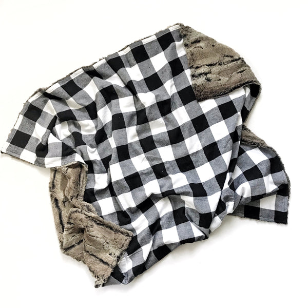 Plaid Blanket BLACK AND WHITE LARGE BUFFALO CHECK