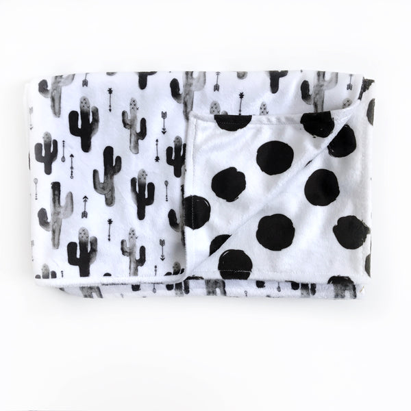 BLACK AND WHITE CACTUS AND DOTS BLANKET