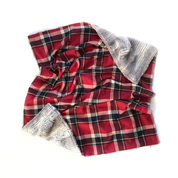 Plaid Blanket RED WHITE AND DEEP BLUE/BLACK SQUARE CHECK - Dotboxed